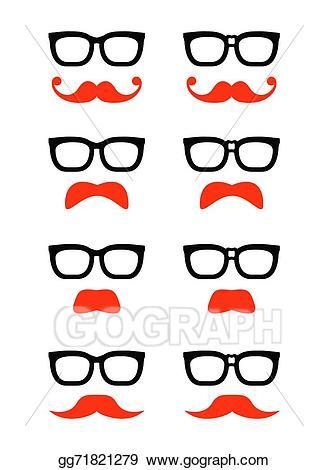 Moustache clipart geeky glass. Vector art geek glasses