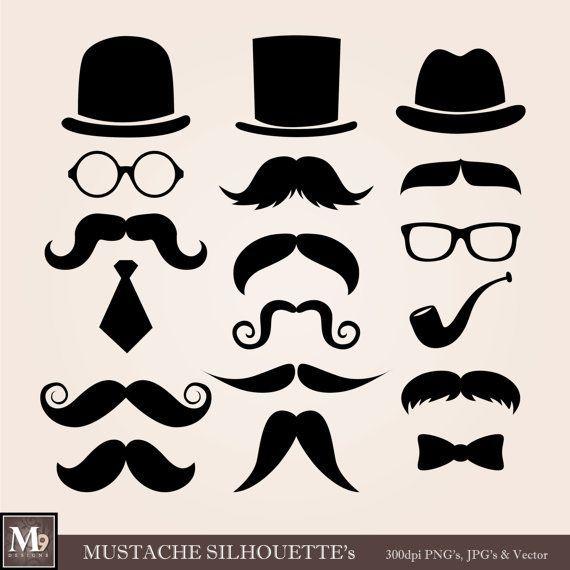 Moustache clipart glass frame. Mustache theme illustrations instant