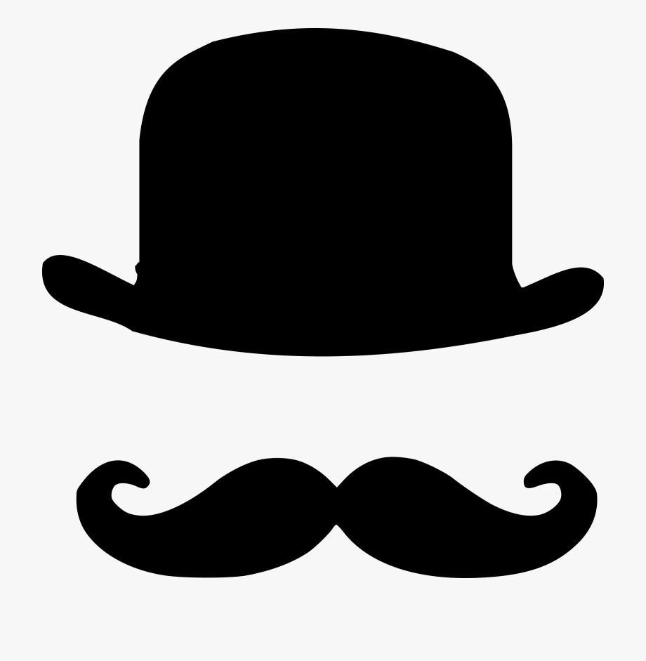 Bowler dessin homme chapeau. Moustache clipart hat derby