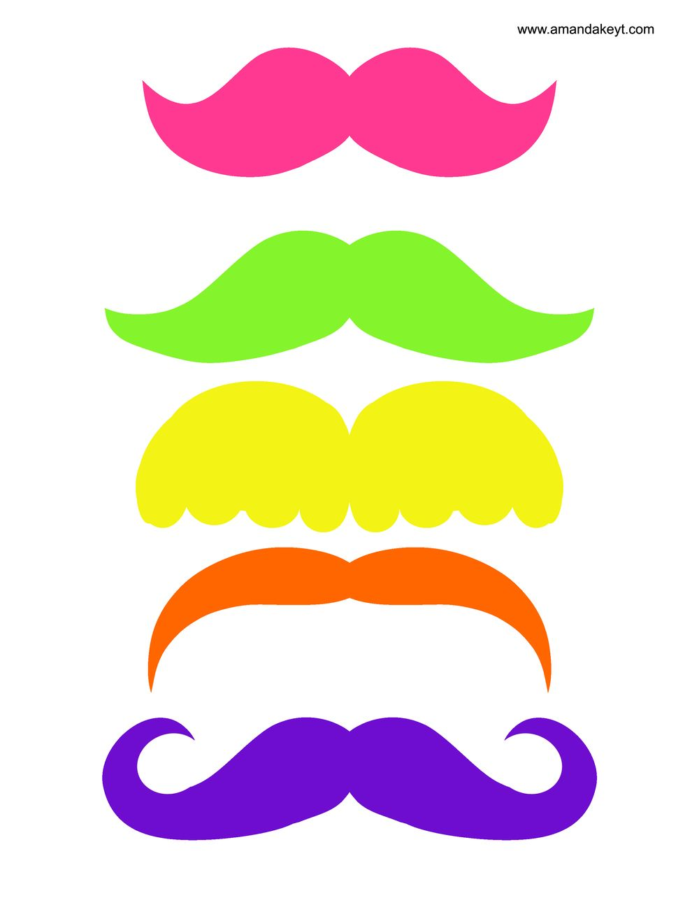 Moustache clipart neon. Mustaches from bowling printable