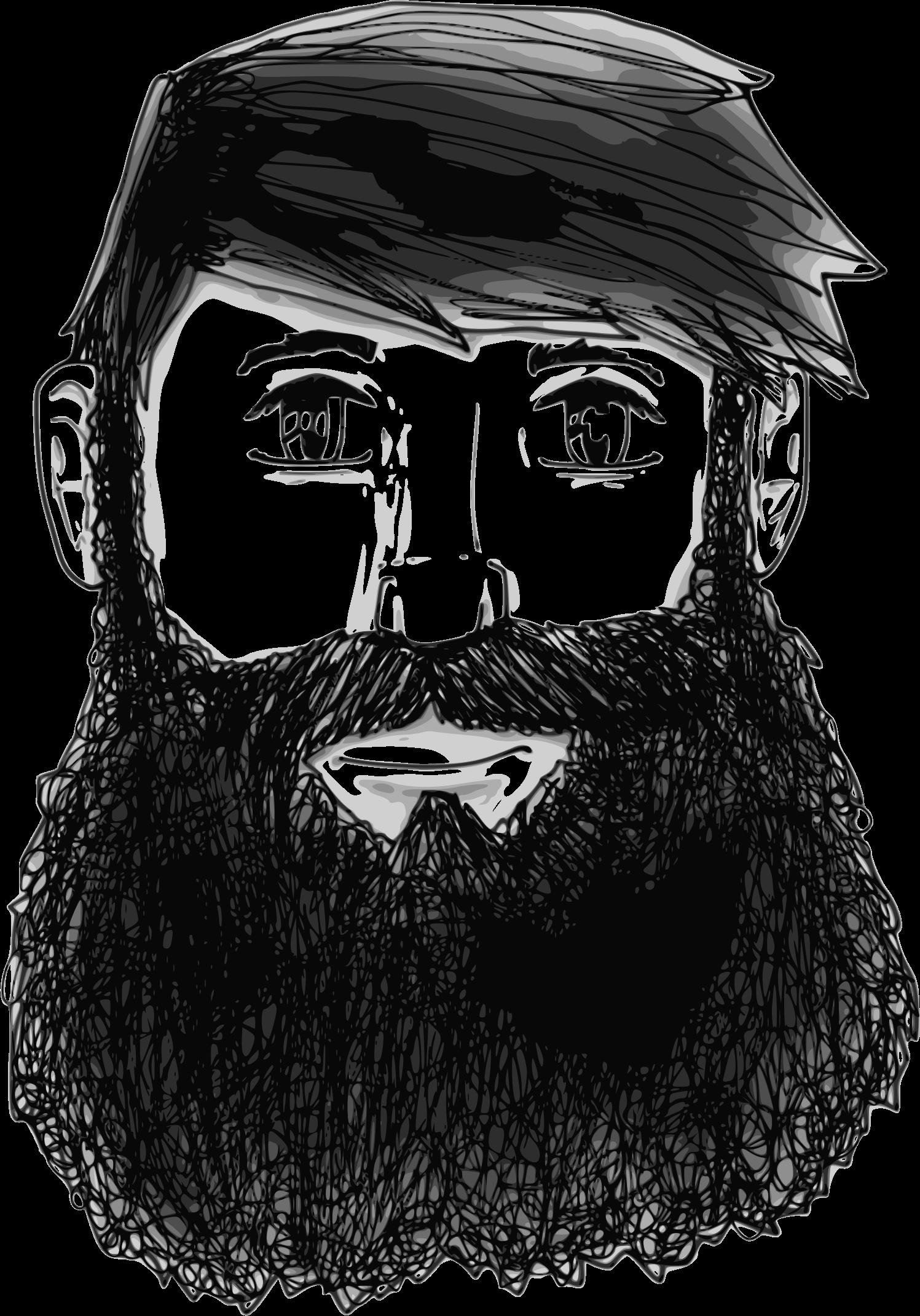 Beard face . Moustache clipart outline