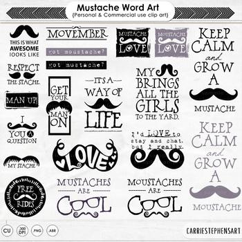 Moustache clipart printable. Mustache word art quote