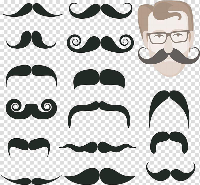 Moustache clipart shape. Assorted mustache lot beard
