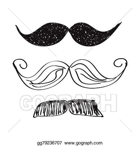 Vector illustration doodle of. Moustache clipart simple