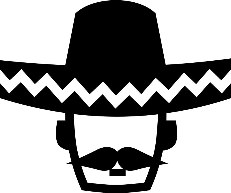 Moustache clipart sombrero. Mexican man wearing rubber