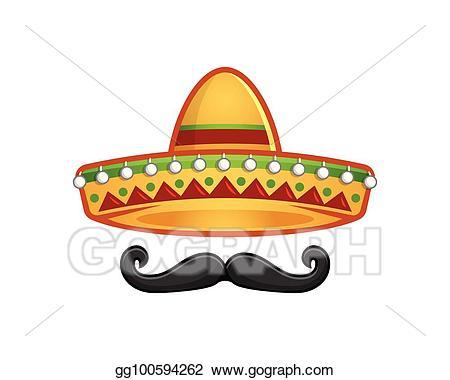 Moustache clipart sombrero. Vector and mustache icon