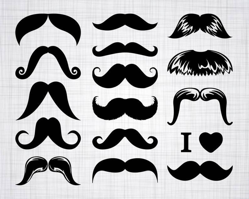 Mustache bundle cut files. Moustache clipart svg