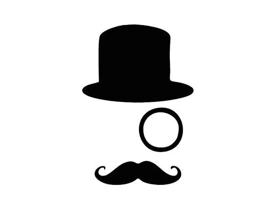 Tophat monocle mustache custom. Moustache clipart top hat