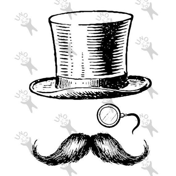 Moustache clipart vintage. Image hat monocle mustache