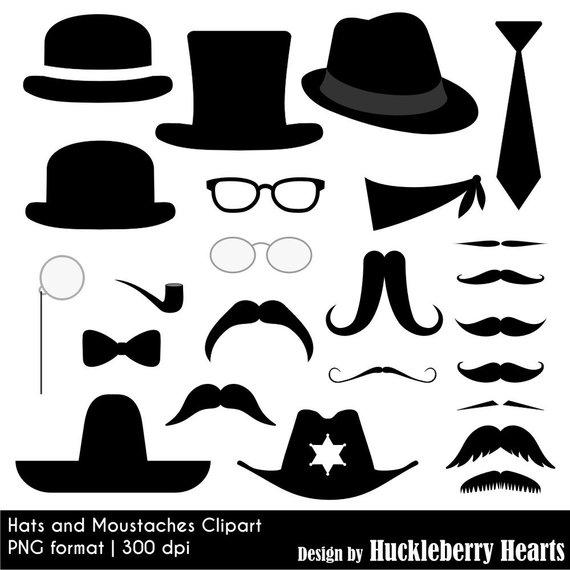 Mustache and hat digital. Moustache clipart vintage