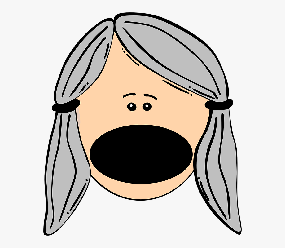 Big yelling girl face. Mouth clipart loud mouth