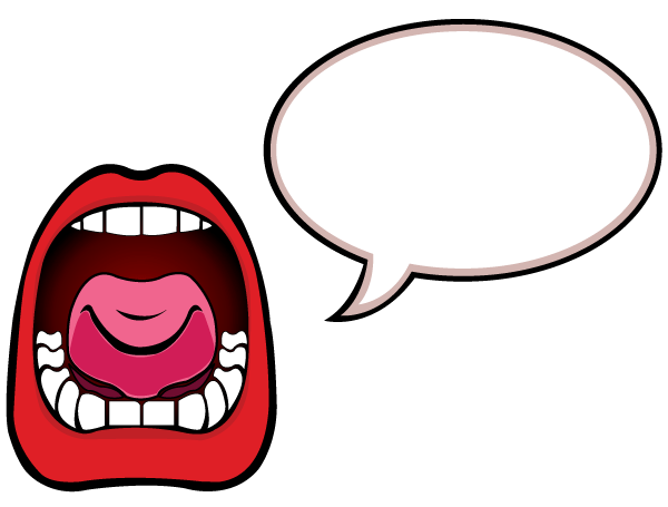 Mouth clipart speech. Open with bubble vector