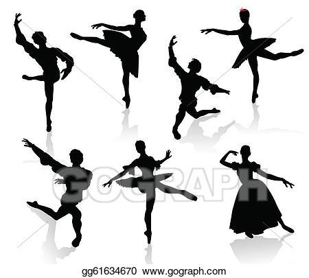 Vector silhouettes of ballerinas. Movement clipart ballet