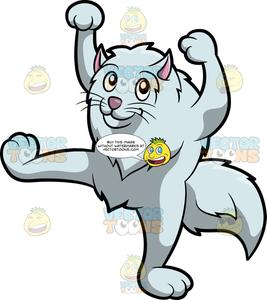 A cat silly move. Movement clipart dancing