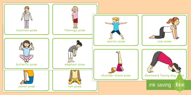 Yoga cards exercise . Movement clipart gross motor activity