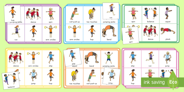 Skills match and move. Movement clipart gross motor activity