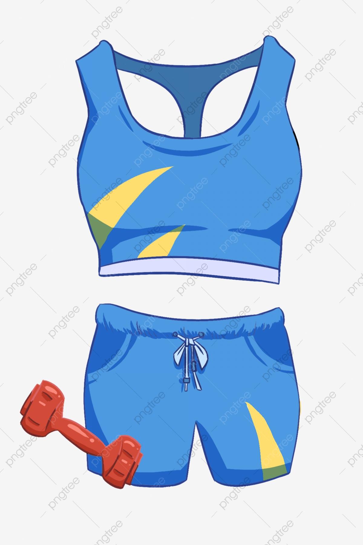 Blue fitness dress illustration. Movement clipart gym clothes