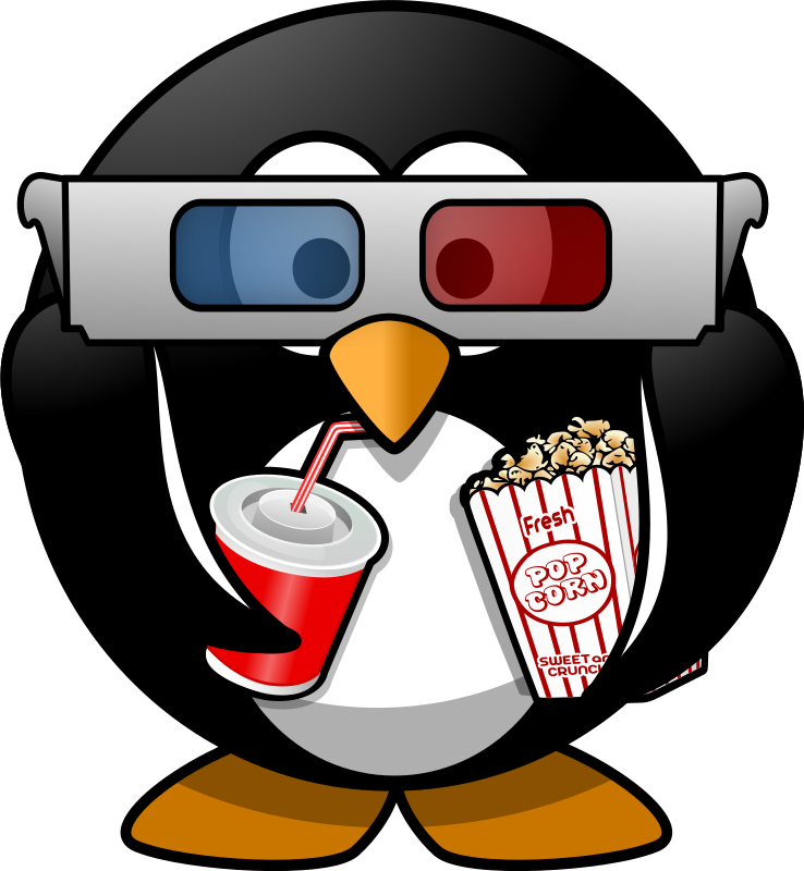 Cinema penguin medium image. Theatre clipart cine