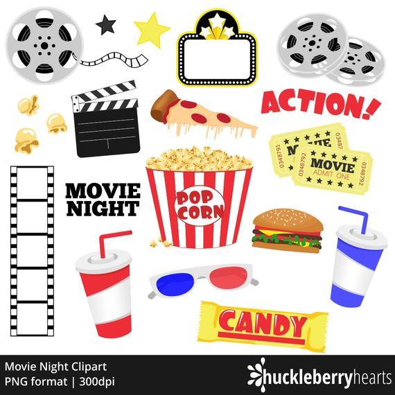 Night popcorn cinema theatre. Movie clipart clip art