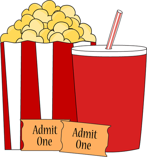 Popcorn and drink clip. Movie clipart movie date