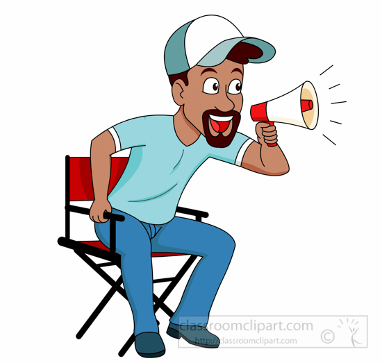 Occupation with loud speaker. Movie clipart movie director