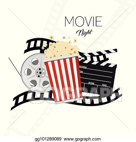Movie clipart movie night. Vector cinema and illustration