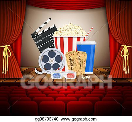 Vector art theater with. Movie clipart row