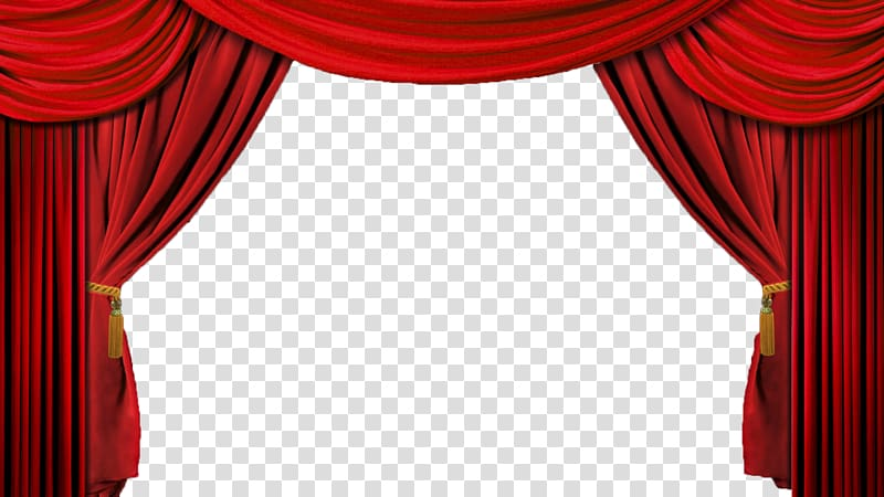 Red theater curtain drapes. Movie clipart stage