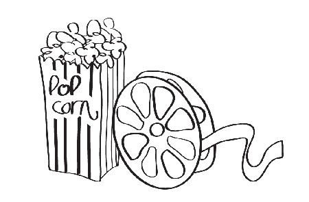 Popcorn reel drive in. Movies clipart black and white