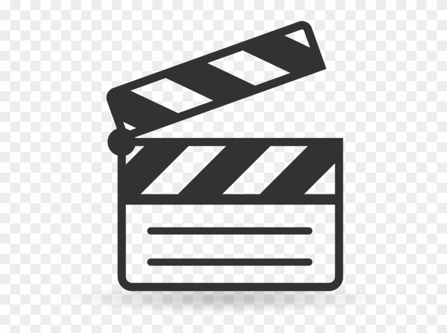 Movies clipart film slate. Single color icons movie