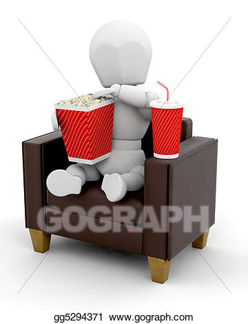 Watching at stock illustration. Movies clipart home clipart