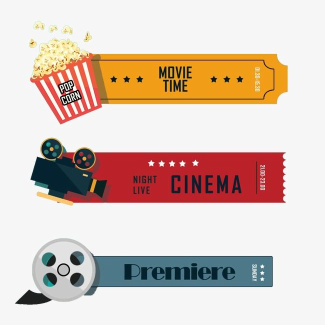 Retro tickets tv planner. Movies clipart movie time