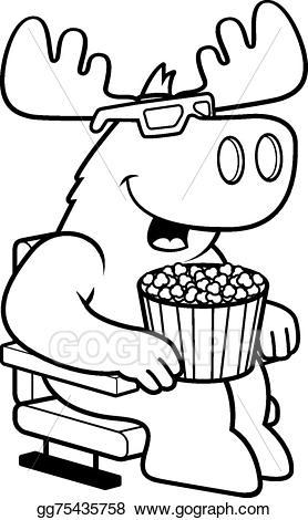 Movies clipart vector. Art cartoon moose d