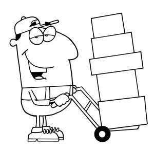 Work image man at. Moving clipart black and white