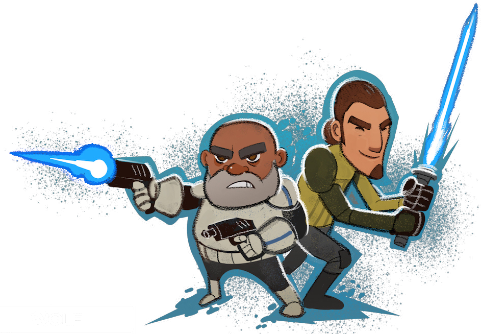 Moving clipart star wars. Captain rex and kanan