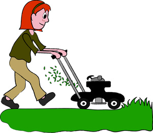 Girl . Mowing clipart