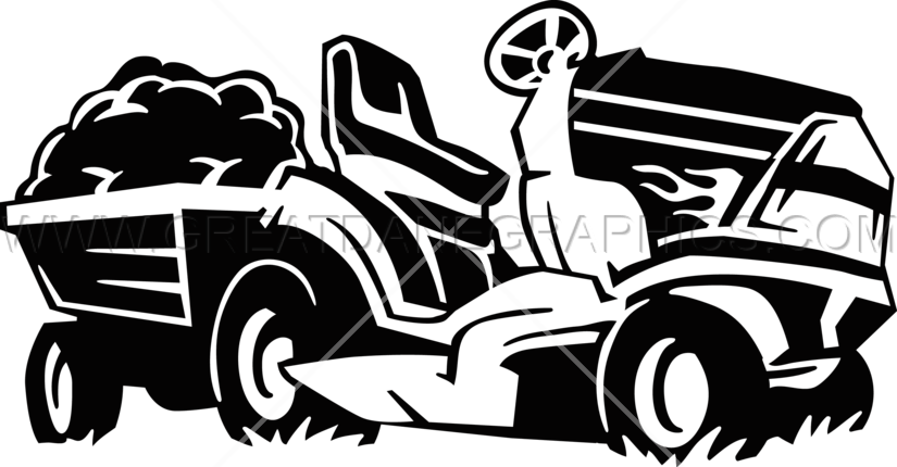 Riding lawn mower production. Mowing clipart ride on