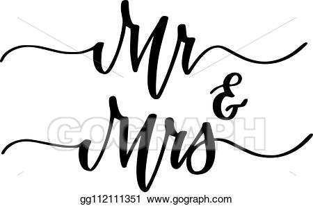 Mr clipart calligraphy mr. Vector art and mrs