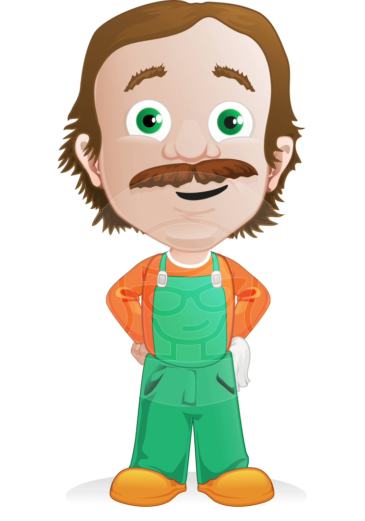 Vector man cartoon character. Professional clipart professional worker