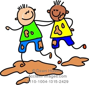 Image of two little. Mud clipart