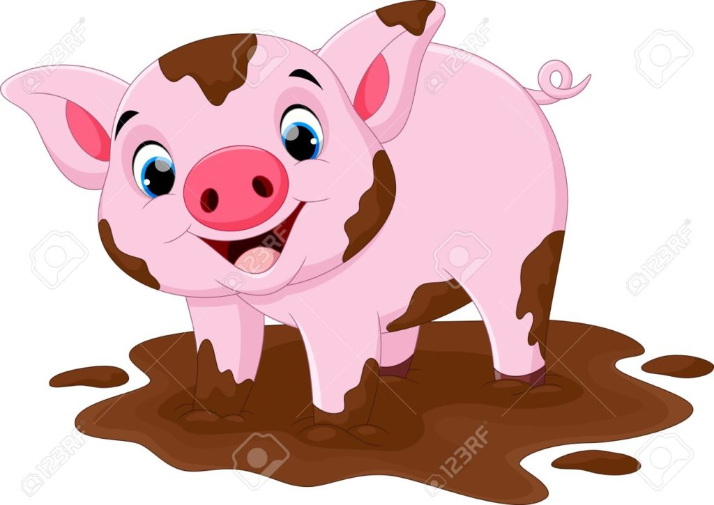 cartoon pig play. Mud clipart