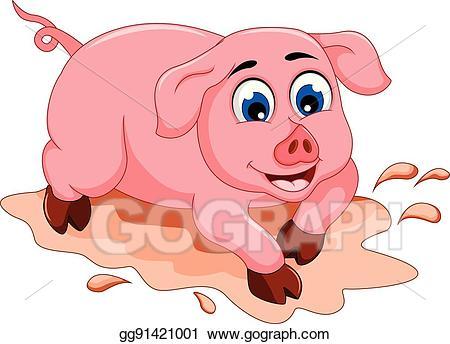 Eps illustration funny cartoon. Mud clipart cool pig