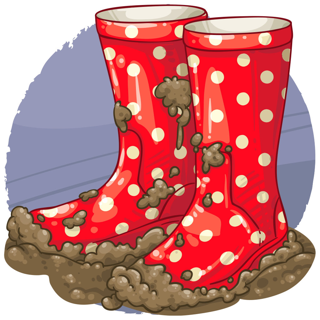 collection of muddy. Wet clipart rain boot