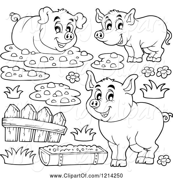 Swine of outlined happy. Mud clipart slop
