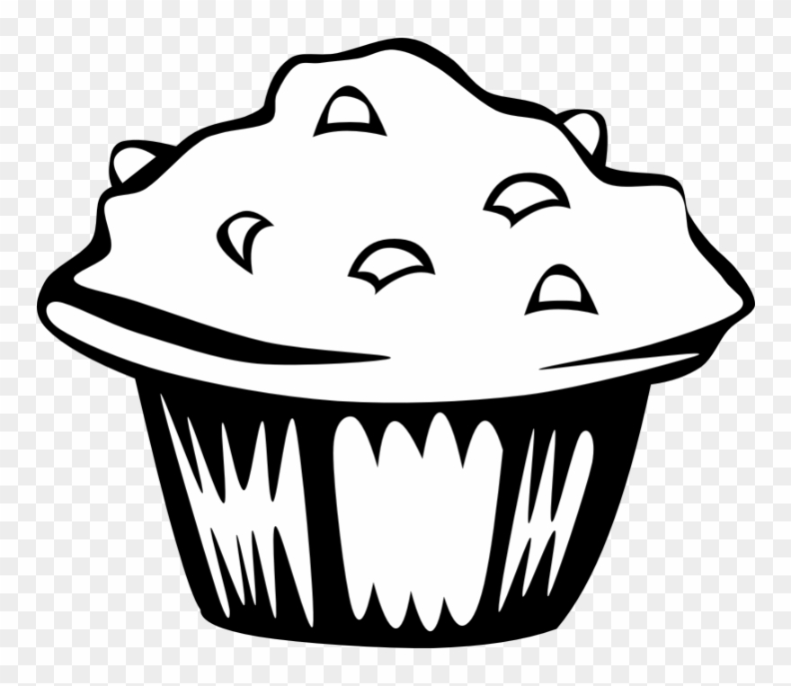 Muffins clipart outline. Muffin black and white