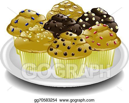 Vector platter illustration . Muffin clipart breakfast muffin
