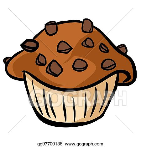 Vector illustration . Muffin clipart chocolate chip muffin