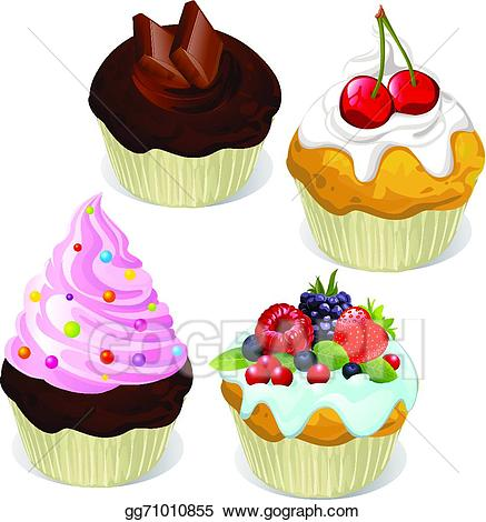 Muffin clipart colorful cupcake. Eps illustration cupcakes and