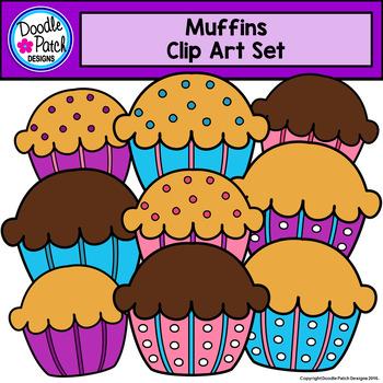 Muffins clip art set. Muffin clipart doodle