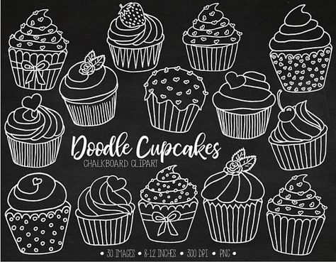 Muffin clipart doodle. The cutest chalkboard cupcake